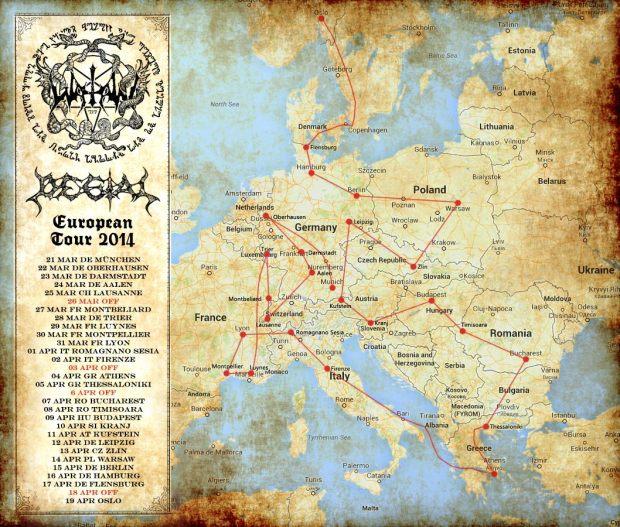 Watain Tour Map 2014